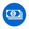 blue icon of cash
